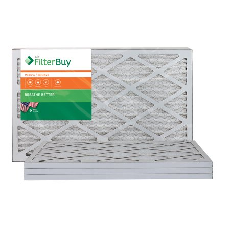 AFB Bronze MERV 6 14x25x1 Pleated AC Furnace Air Filter. Pack of 4 Filters. 100% produced in the