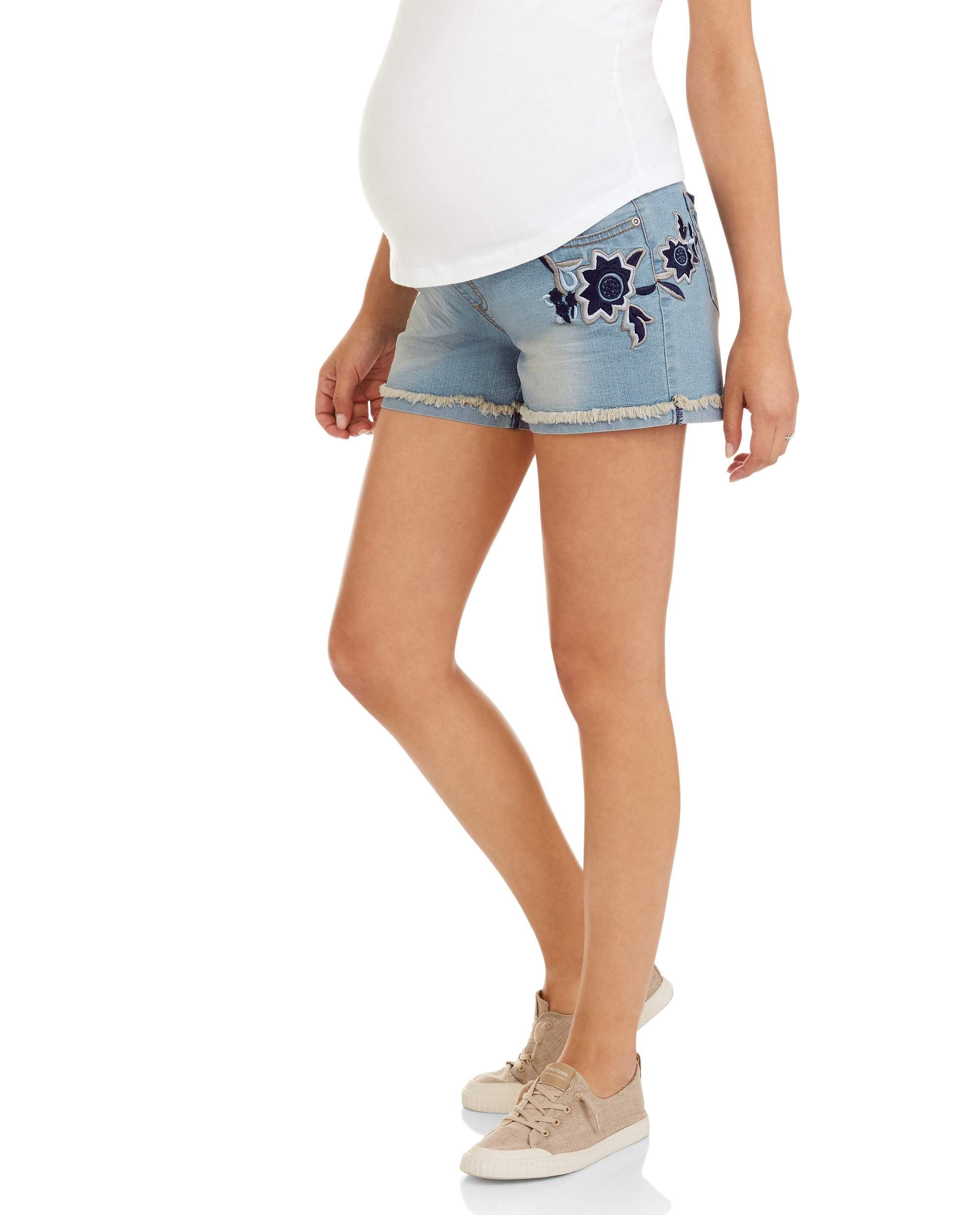 Maternity Flower Embroidered Roll Up Jean Shorts by