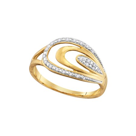 Size - 7 - Solid 10k White and Yellow Two Toned Gold Round White Diamond Prong Set Curved Pear Wedding Band OR Fashion Ring (.06 cttw)