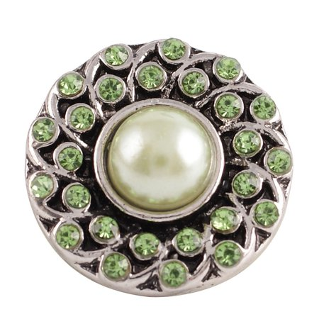 1 PC - 18MM Green Rhinestone Faux Pearl Silver Charm for Candy Snap Jewelry KC8502 CC2231