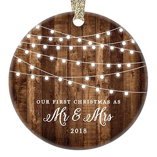 "First Christmas as Mr & Mrs Ornament 2018, Rustic 1st Married Christmas Ornament, First Married, 3"" Flat Circle Porcelain Ceramic Ornament w Glossy Glaze, ..."