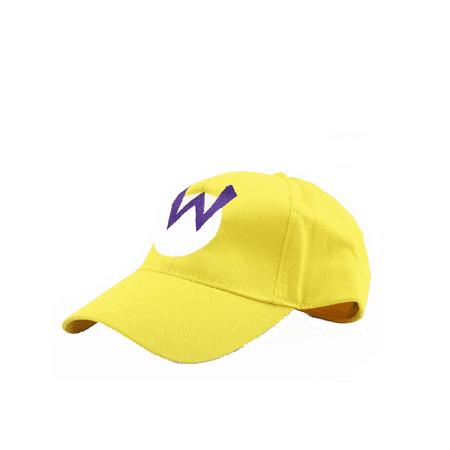 Wario W Logo Yellow Baseball Cap Hat Super Mario Brothers Costume Nintendo Kart