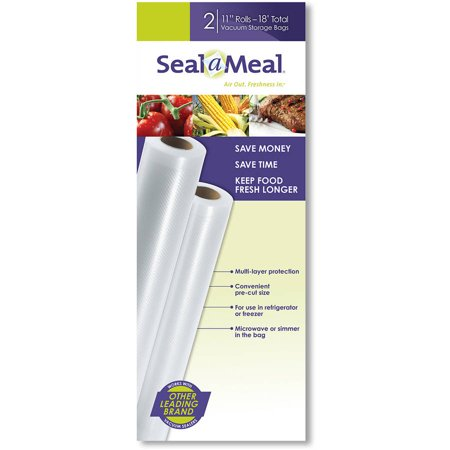 "Seal-a-Meal 11"" x 9' Vacuum Seal Rolls for Seal-a-Meal and FoodSaver Vacuum Sealers, 2 Pack"
