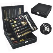 Two-Layer Lint Large Jewelry Box Organizer Display Storage case with Lock