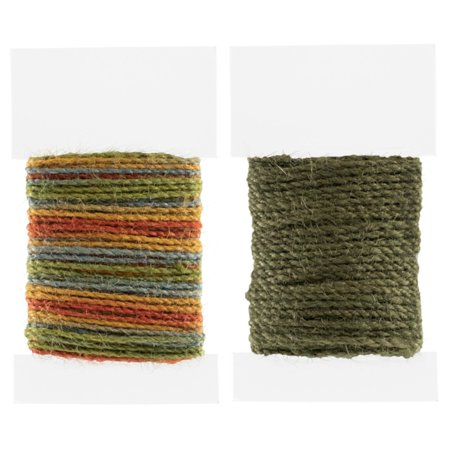 Craft County 2mm Multicolor Jute Cord Packs - 10 Meter Spools for a Total of 50 or 100 Meters