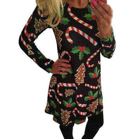 Yves Christmas Woman's Cute Casual Christmas Tree Candy Cane Sugar Printed Round Neck Long Sleeve - Candy Cane Dress