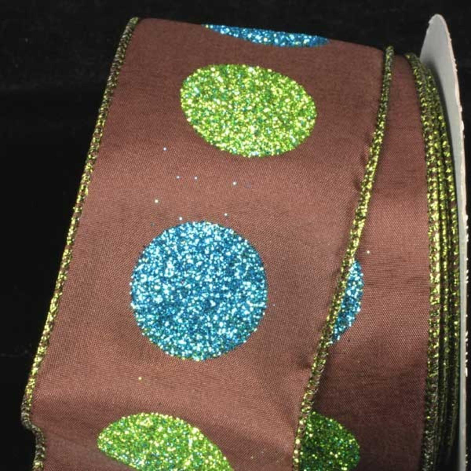 "Glittering Dots Brown, Green and Blue Wired Craft Ribbon 2.5"" x 40 Yards"