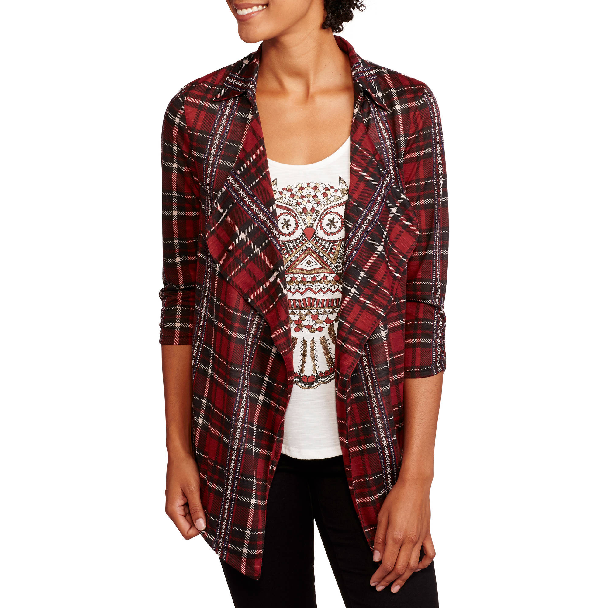 No Boundaries Juniors' Plaid Waterfall Cardigan and Graphic Tank 2fer