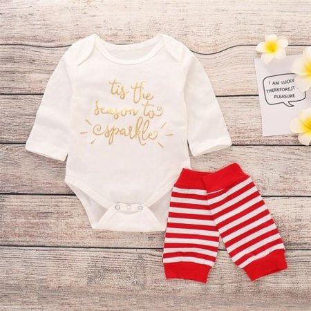 Newborn Baby Boy Girl Cotton Tops Romper Leg Warmers Outfit 2Pcs Set