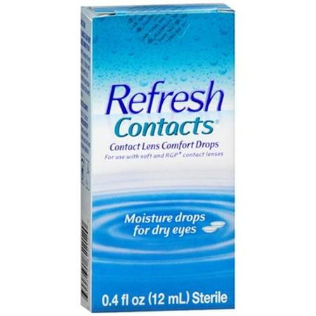 Refresh Contacts lentilles de contact Confort humidité gouttes 0,40 oz (pack de 2)