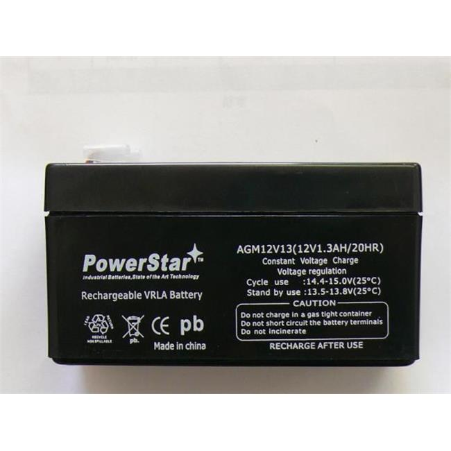 PowerStar AGM1213-27 12V 1.3Ah LC-R121R3P Black Medium VRLA Battery with F1 Terminal