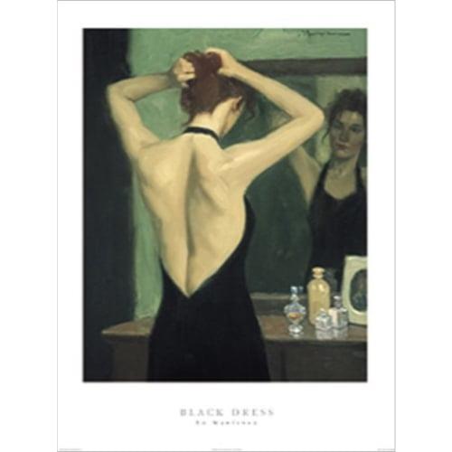 Black Dress by Ed Martinez 24x32 Art Print Poster Abstract Figurative Woman  Black Dress Fixing Hair  the Mirror
