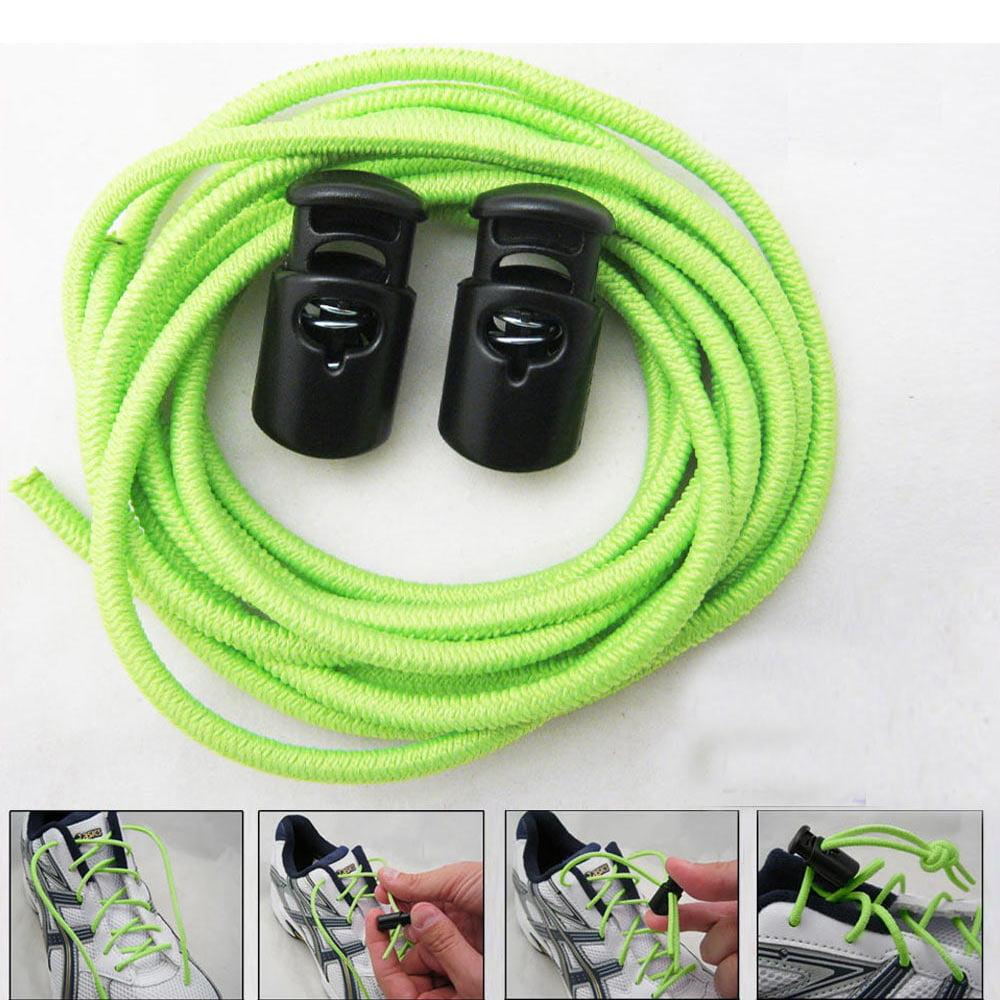 Green Elastic Shoe Laces Tie Fast Triathlon Marathon Running Run Shoelaces Fast