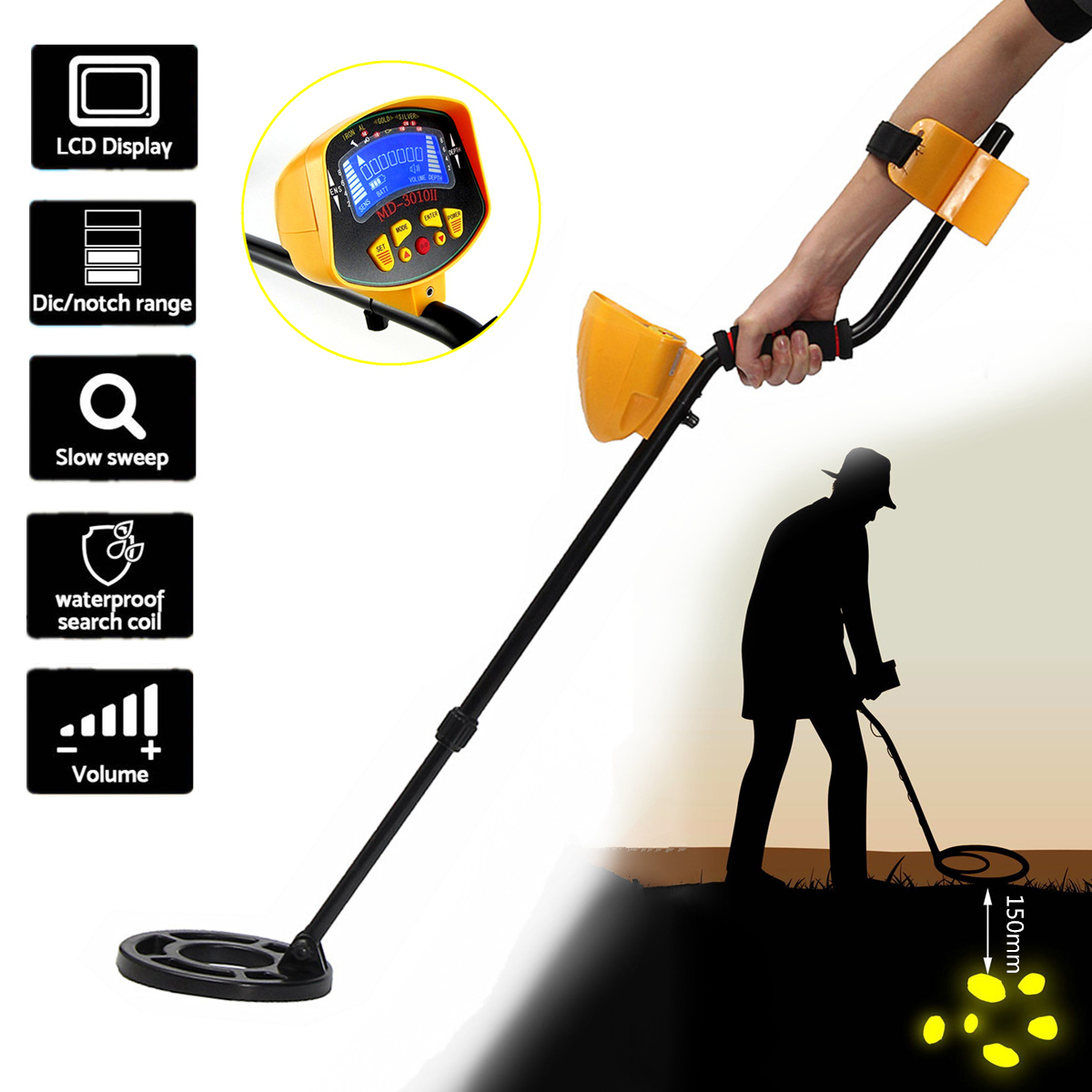 LCD Display Sensitive Underground Metal Detector Searchin...