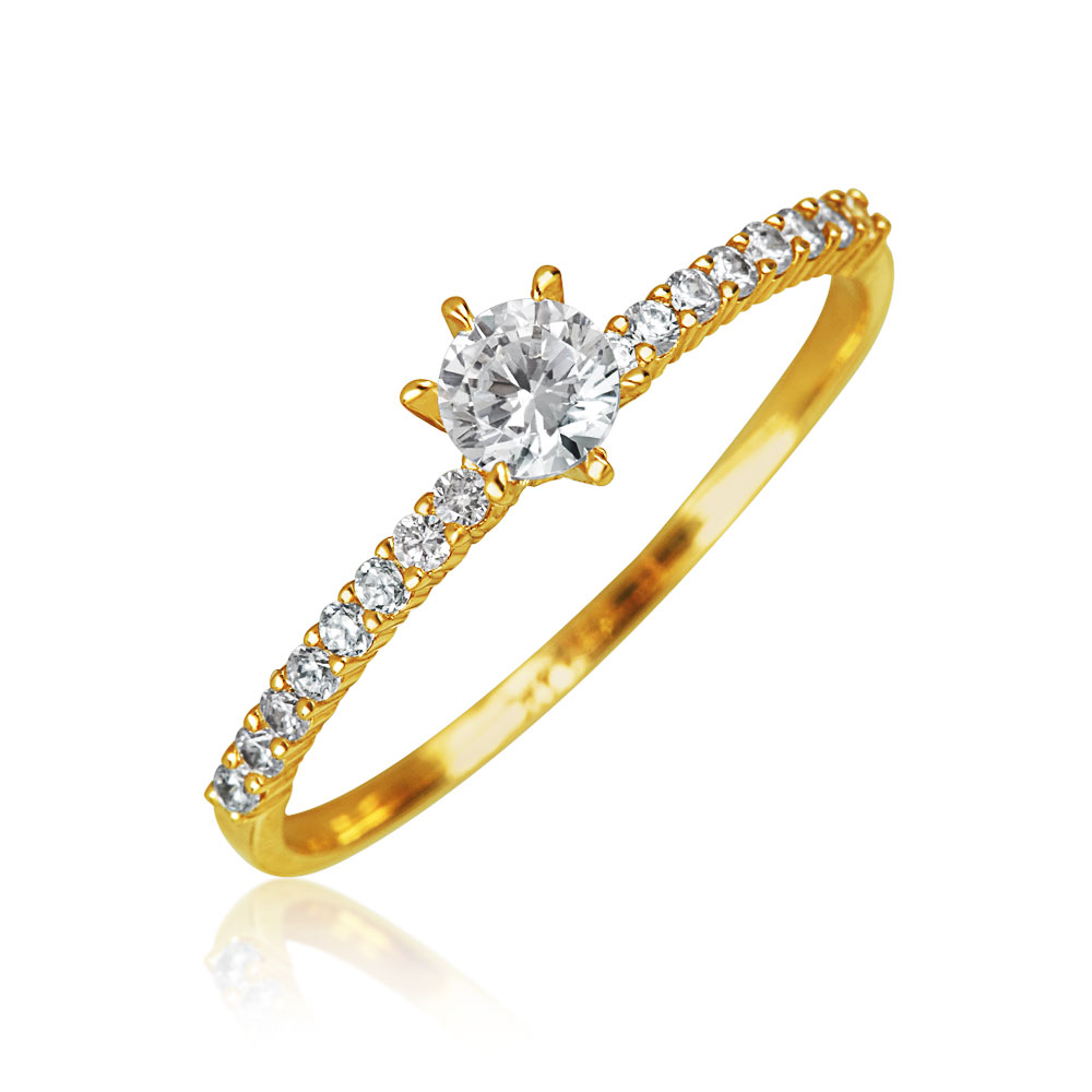 Bling 14K Yellow Gold CZ Solitaire Thin Pave Band Engagem...