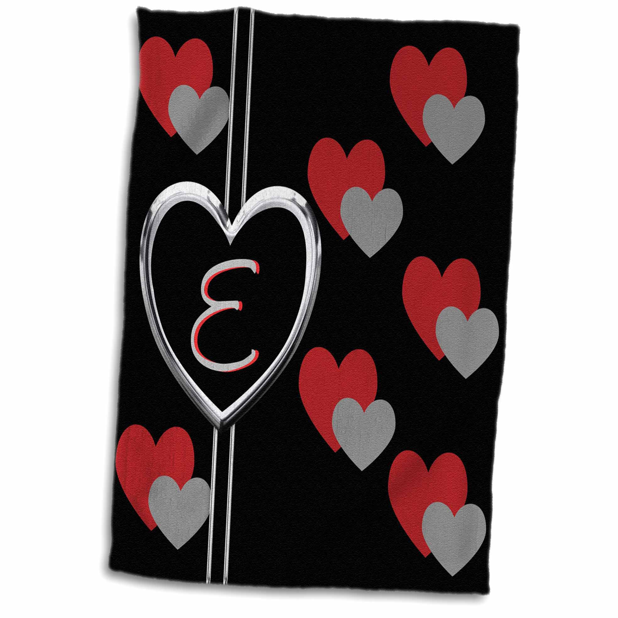3dRose Modern Geometric Black Red Grey Hearts Pattern Monogram Letter E - Towel, 15 by 22-inch