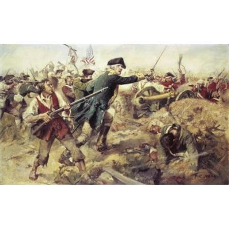 General John Stark at the Battle of Bennington Vermont 1902 Frederick Coffay Yohn (1875-1933 American) Canvas Art - Frederick Coffay Yohn (24 x 36)