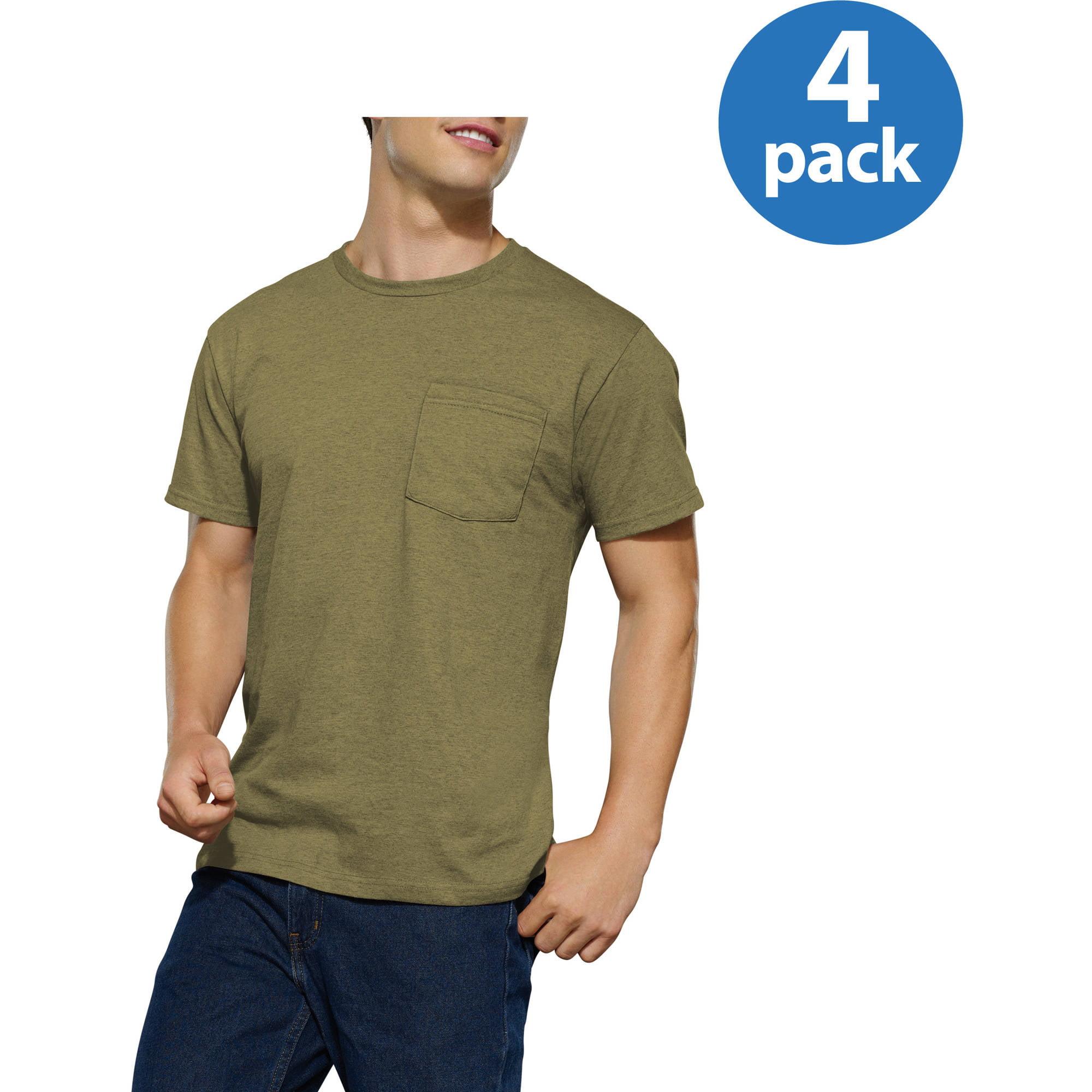 Fruit of the Loom Big Men's Assorted Color Pocket T Shirt, 4 Pack