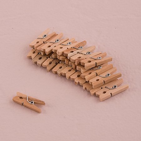 Weddingstar 7038-24 Natural Mini Wooden Clips Mocha Mousse
