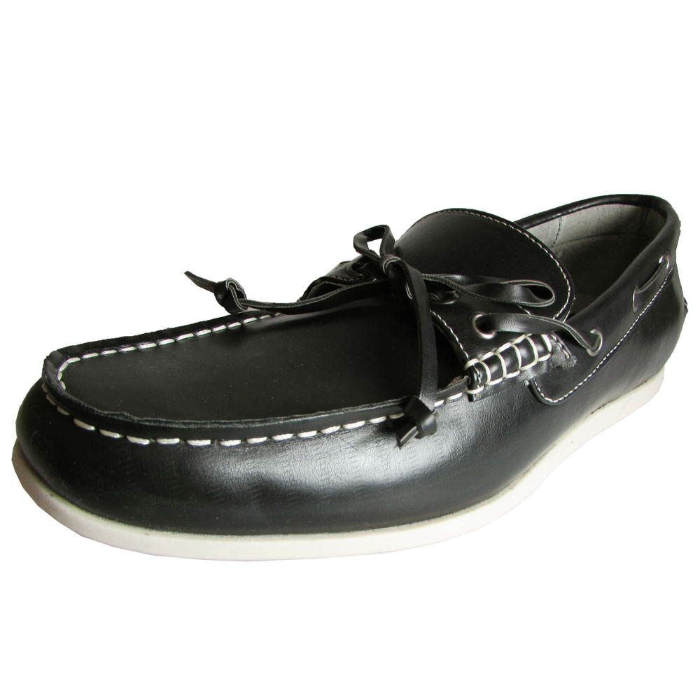 Steve Madden Mens M-Graham Leather Slip On Boat Shoe