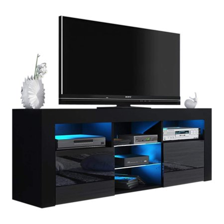 - Milano 145 Modern TV Stand Matte Body High Gloss Fronts, Black