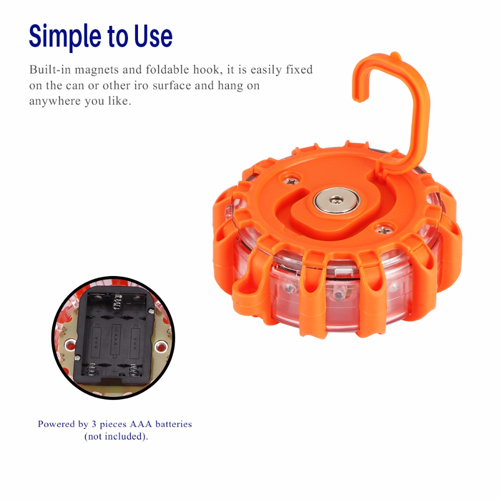 LED Road Flares Emergency Lights Roadside Safety Beacon Disc Flashing Warning Light with Magnetic Base /& Hook for Vehicles Truck Boats Batteries Not Included
