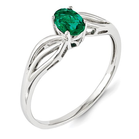 925 Sterling Silver Rhodium-Plated Created Emerald Ring - image 1 de 2