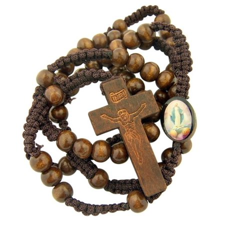 Wooden Bead Our Lady of Grace Cord Rosary with Engraved Crucifix, 20 Inch