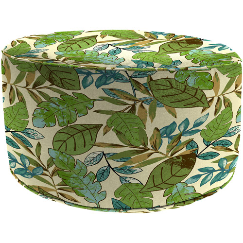 Jordan Manufacturing Round Outdoor Patio Floral Pouf Ottoman, Marley Emerald