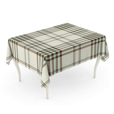 JSDART Check Tartan Plaid Printing Pattern Checkered in Light Aqua Green Black Stripes on Pale Tablecloth Table Desk Cover Home Party Decor 60x120 inch - image 1 de 1