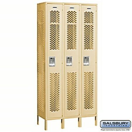 vented metal locker single tier 3 wide 6 feet high 15 inches deep tan unassembled. Black Bedroom Furniture Sets. Home Design Ideas