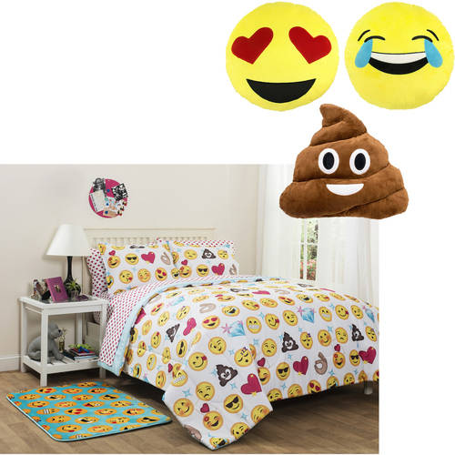Emoji Comforter Set Bundle with 3 pk. Emoji Pillows or Emoji Back Rest