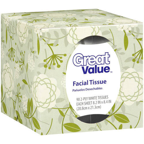 Great Value White Facial Tissue