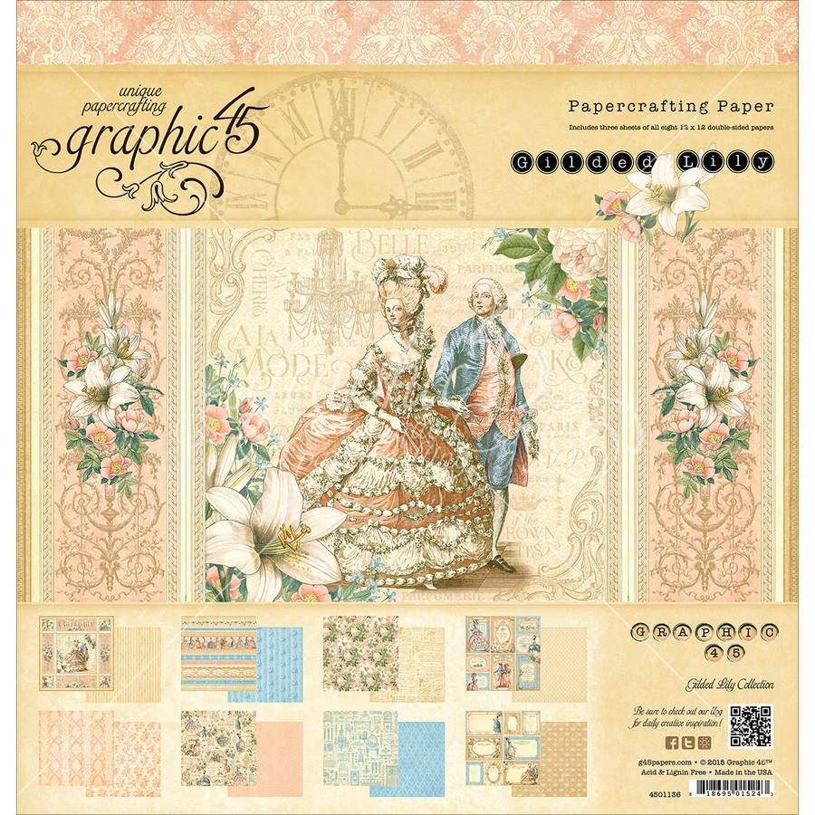 "Graphic 45 Double-Sided Paper Pad 12""X12"" 24/Pkg-Gilded Lily, 8 Designs/3 Each"