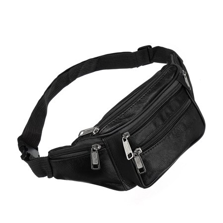 905083ecff9 Unisex 5 Pockets Leather Waist Pouch Belt Bum Bag Fanny Pack Travel ...