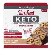 SlimFast Keto Meal Replacement Bar Chocolate Chip Cookie Dough, 1.48 Oz, 5 Count