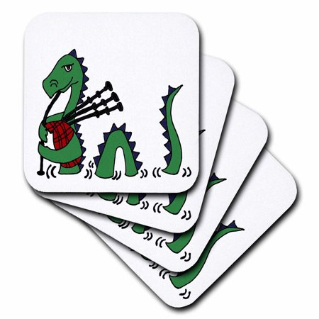 3dRose Funny Loch ness Monster Playing the Bagpipes, Soft Coasters, set of 8