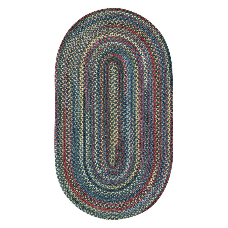 High Rock 0103 Braided Round Area Rug - Blue