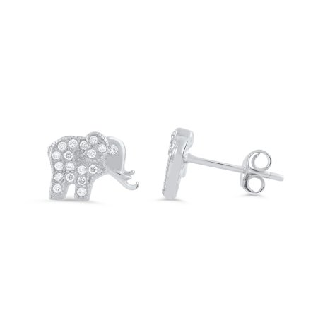 Sterling Silver Cz Lucky Elephant Stud Earrings - 9mm