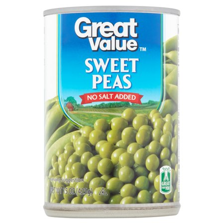 Great Value Sweet Peas, No Salt Added, 15 oz