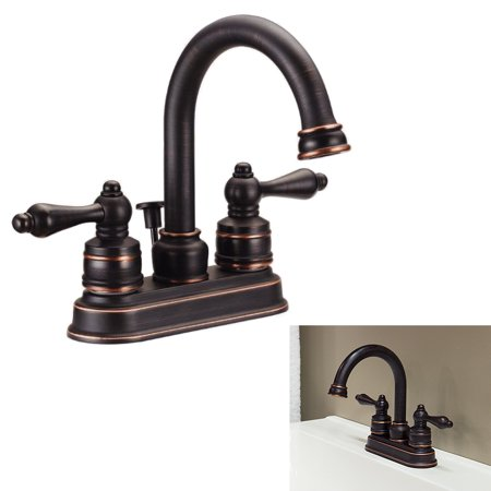 Two Handle High Arc Bathroom Faucet Swivel Spout Oil Rubbed Bronze