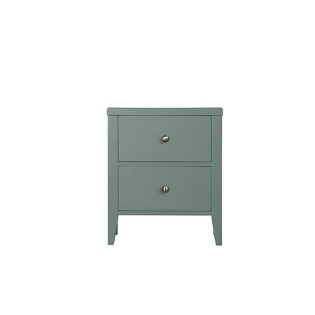 Emerald Home Decor III Green Nightstand With Angled Wood Legs And Brushed Nickel Hardware 2 Drawer