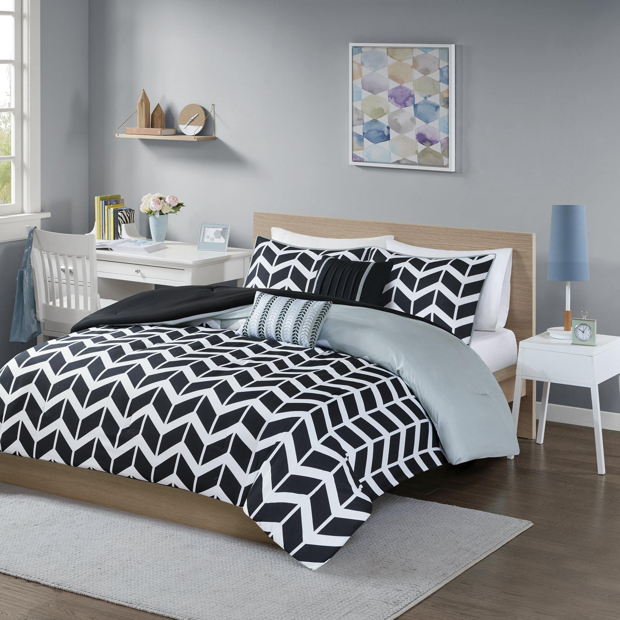 Double Brushed Ultra Microfiber Luxury Bedding Set Xl Twin Sheet Set Gray Chevron
