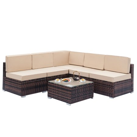 Incredible Fully Equipped Weaving Rattan Sofa Set With 1Pcs Corner Sofas 4Pcs Single Sofas 1 Pcs Coffee Table Bralicious Painted Fabric Chair Ideas Braliciousco