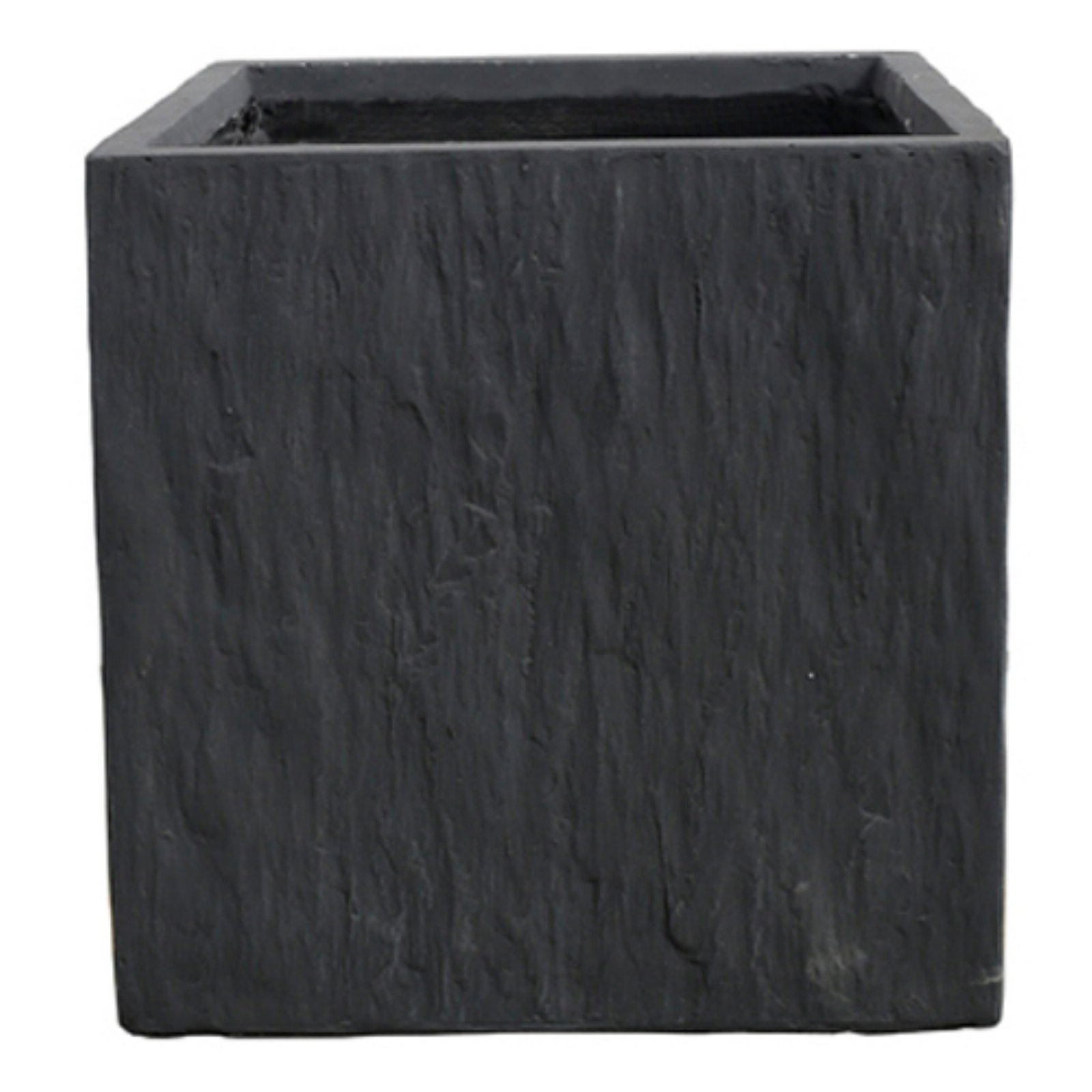 Kasamodern Modern Square Black Slate Planter Pot by La Kasa LLC