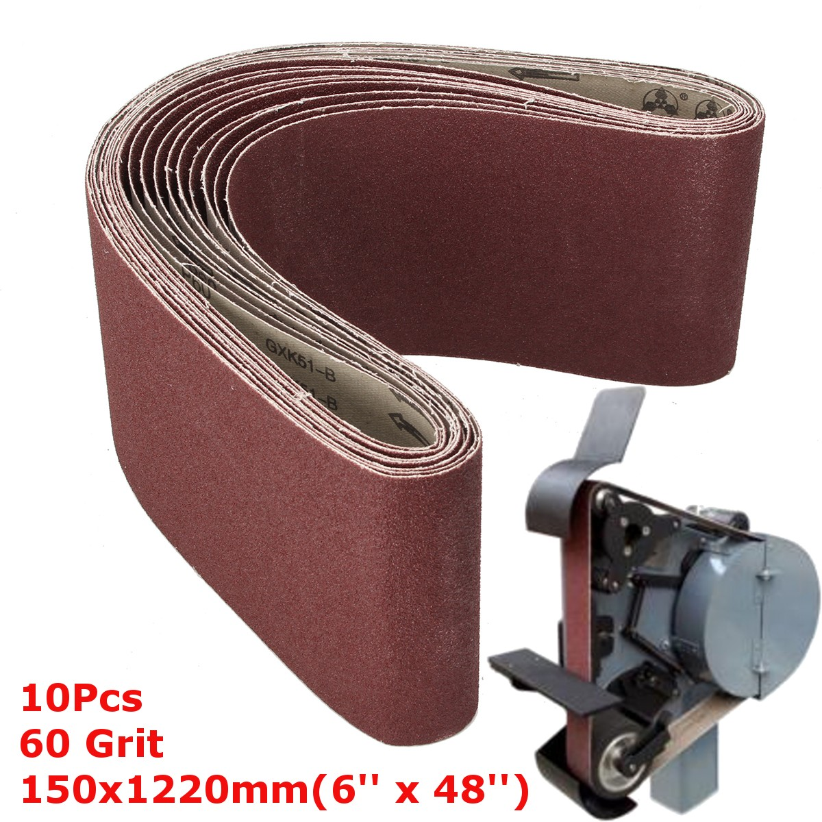 WNJ-Tools 10 Piezas 50x1220mm A//S abrasivo Bandas abrasivas 2* 48 P40-1000 Grueso a Fino Lijado con Cinta Amoladora Accesorios Grit : 40