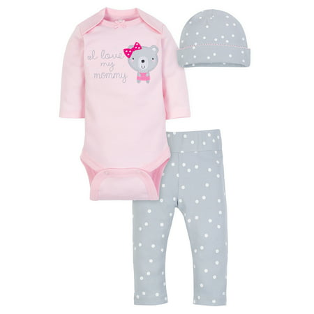 Wonder Nation Take Me Home Outfit Set, 3pc (Baby Girls)