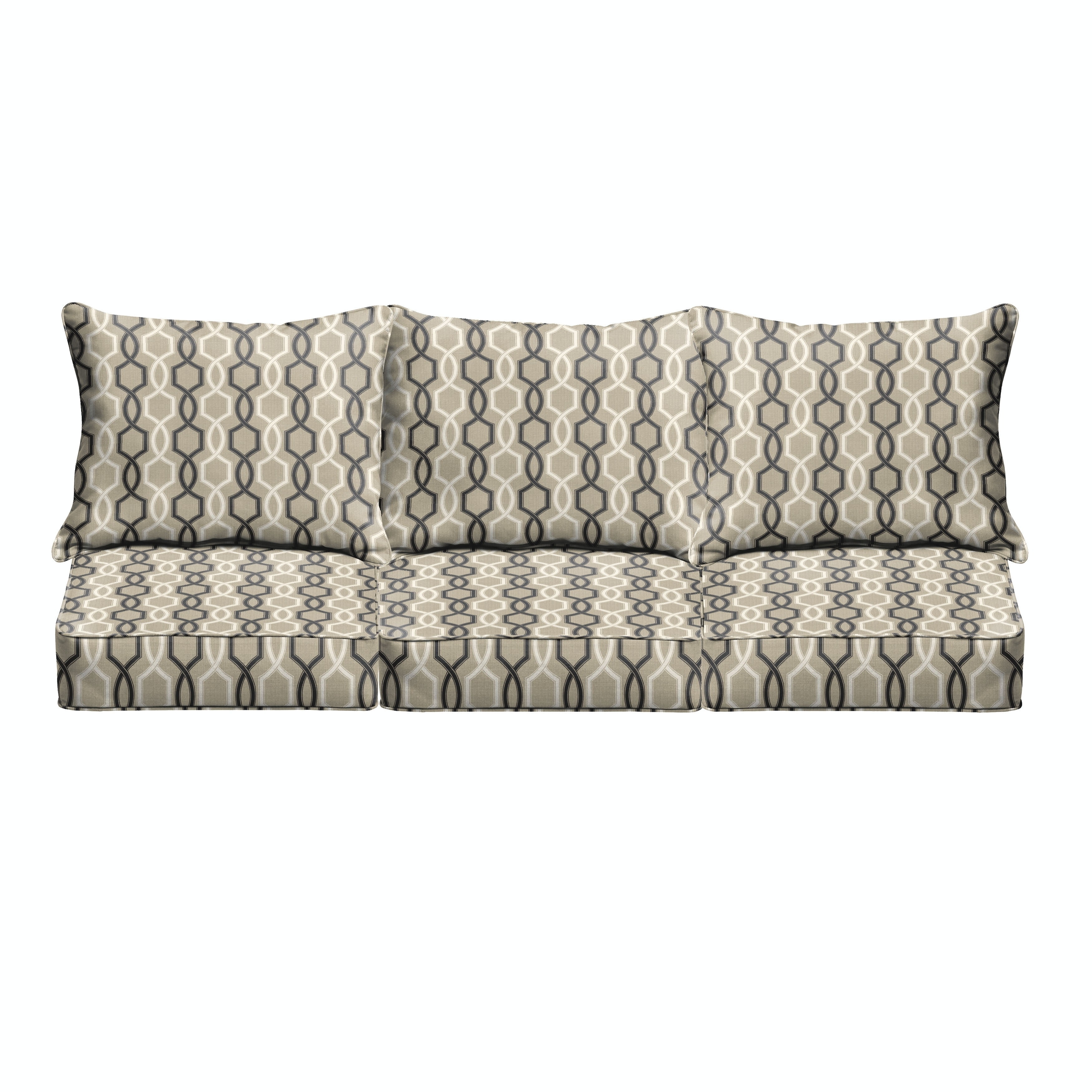 Humble and Haute Sloane Black and Tan Indoor/ Outdoor Corded Cushion and Pillow Sofa Set