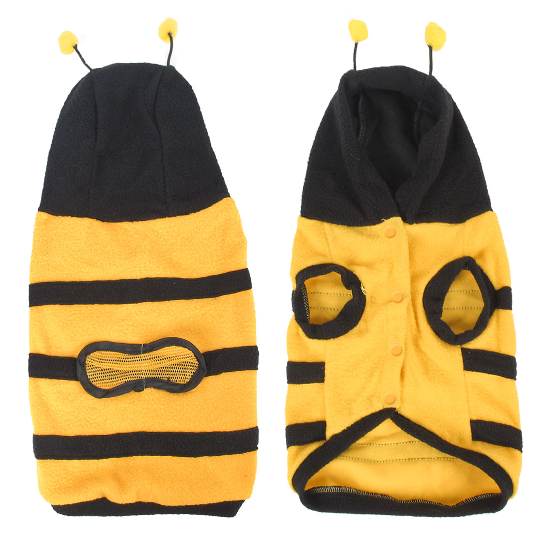 Unique Bargains Pet Dog Doggie Yellow Black Bee Design Hooded Single Breasted Apparel Clothes L