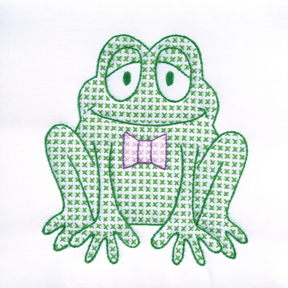 "Jack Dempsey Froggy Stamped White Quilt Blocks, 9"" x 9"